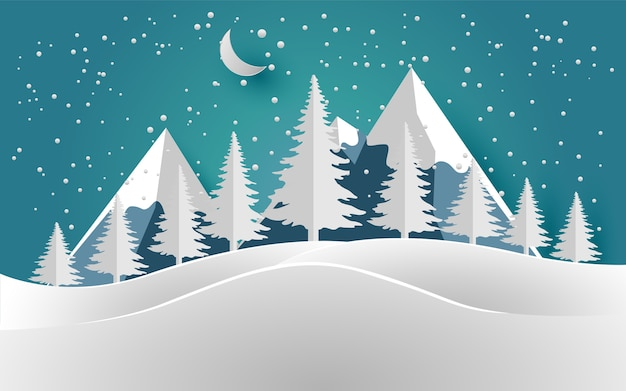 冬と雪山の松の木イラストデザインの紙アートと工芸品 ベクター画像