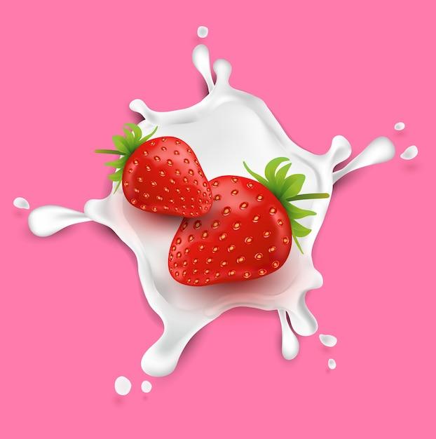 ストロベリーフルーツ、ミルクの飛沫。果物と新鮮なミルク。 Premiumベクター