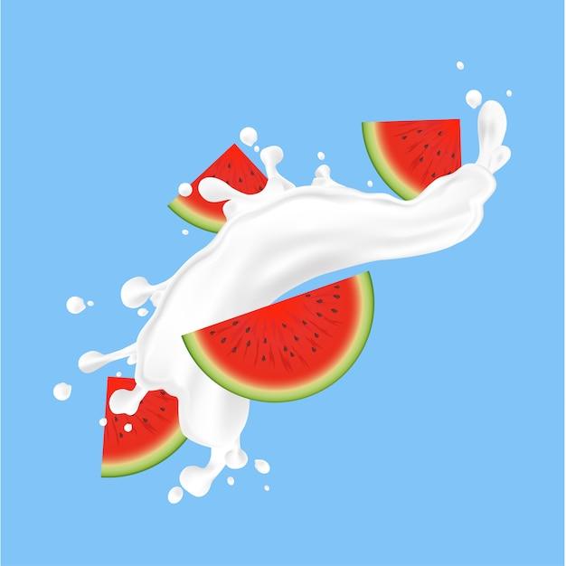 スイカの果実とミルクの飛沫 Premiumベクター