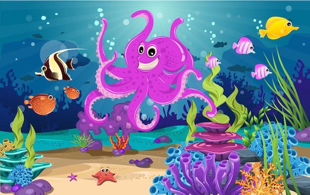 海の生息地とサンゴの美しさ。 Premiumベクター