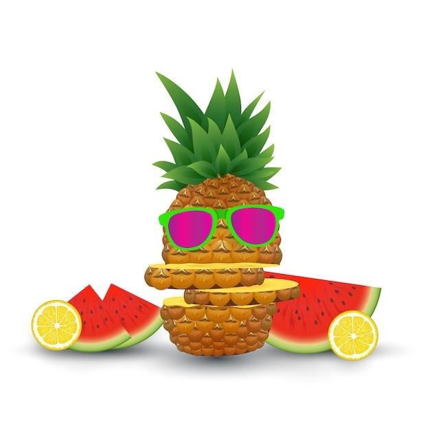 夏の果物のイラスト。ベクトルイラスト Premiumベクター