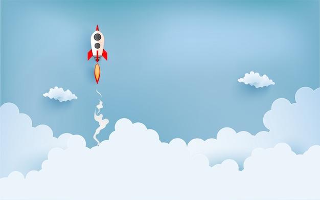 Ракета иллюстрация пролетел над облаком. бумага арт дизайн Premium векторы