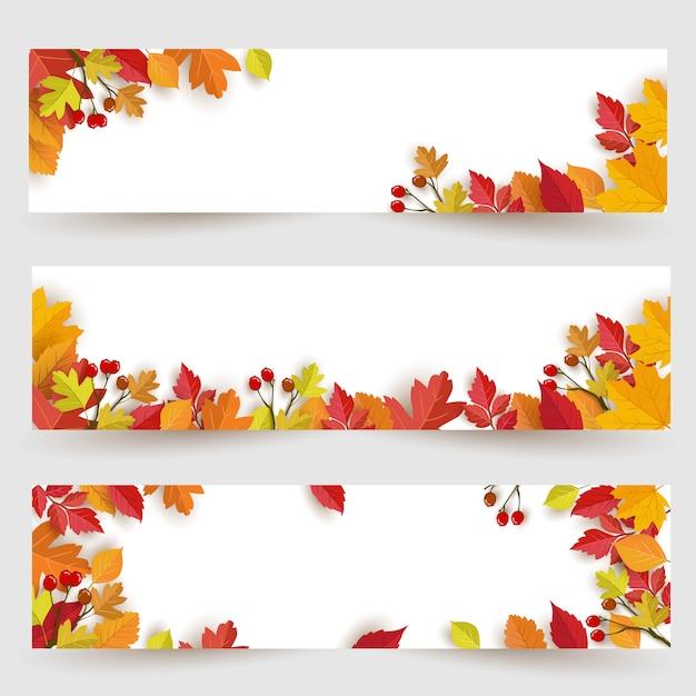 秋のデザインと葉のパノラマバナーの背景 Premiumベクター