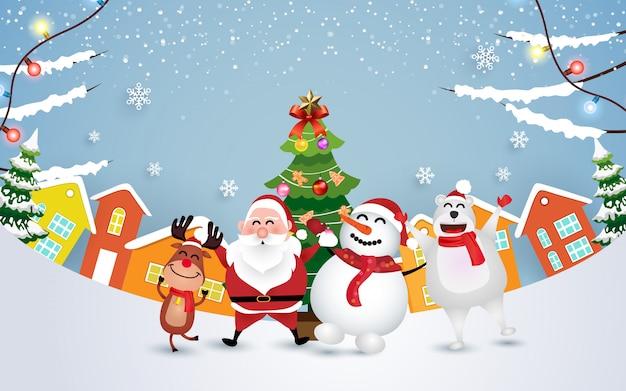 面白いサンタクロース、雪だるま、鹿、クマとクリスマスを祝う Premiumベクター
