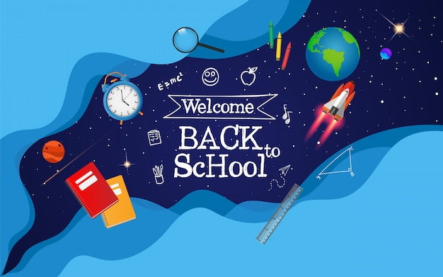 Добро пожаловать в школу с концепцией пространства. готов учиться Premium векторы