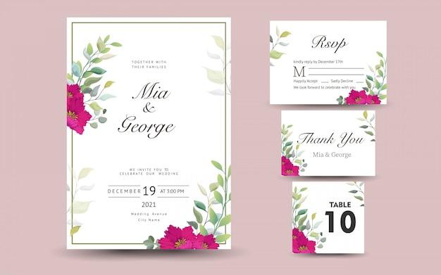 Красивый набор декоративной открытки или приглашения с цветочным узором Premium векторы