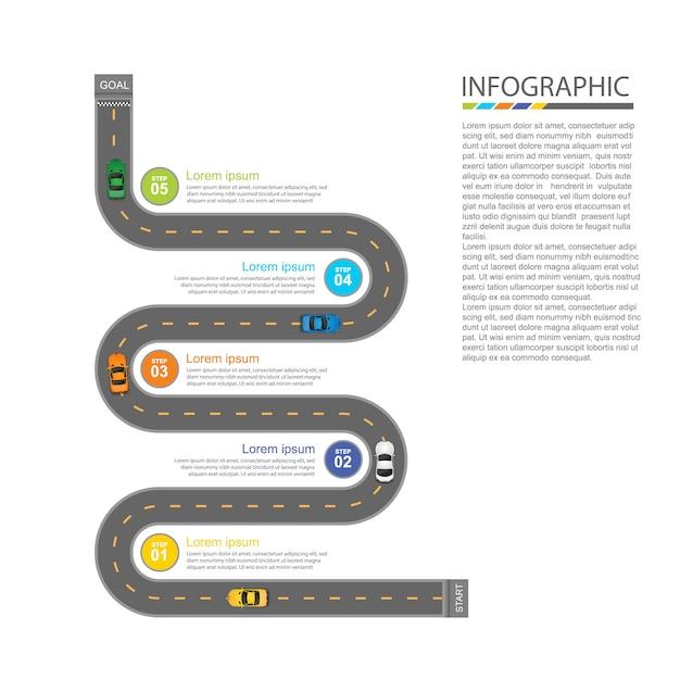 道路インフォグラフィックデザイン Premiumベクター