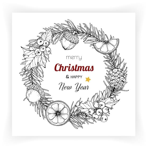 クリスマスと新年の背景とグリーティングカード。 Premiumベクター