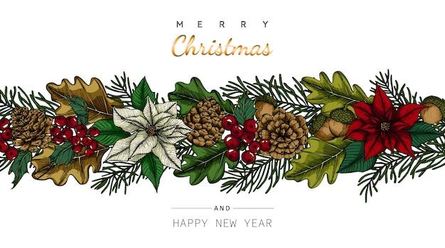 С рождеством христовым и новогодние фоны и поздравительная открытка с цветком и иллюстрацией рисунка листа. Premium векторы