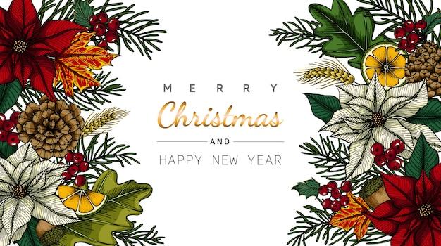 花と葉でメリークリスマスと新年のグリーティングカード Premiumベクター