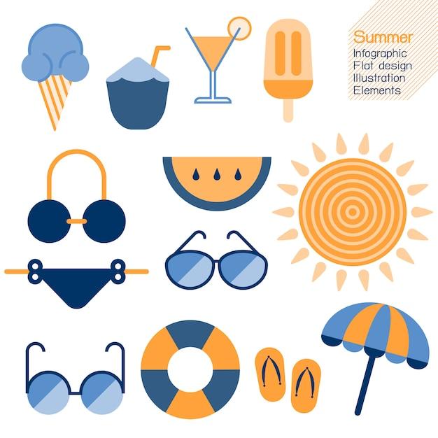 Летнее время инфографики плоский дизайн элемент. векторная иллюстрация лето концепция. Premium векторы