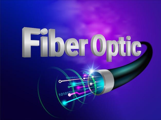 最も強力で現代的なデジタル光ファイバー技術未来の世界を伝えます。 Premiumベクター