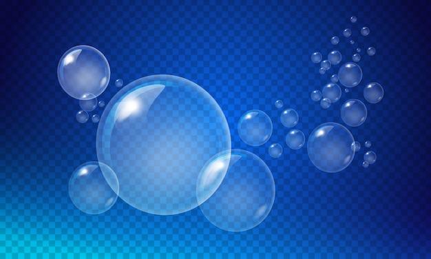 Прозрачные белые пузыри Premium векторы