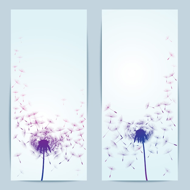 バナーのタンポポの花のベクトルの背景 Premiumベクター