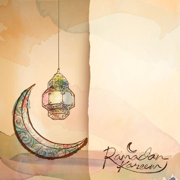 Рамадан карим приветствие дизайн фона Premium векторы