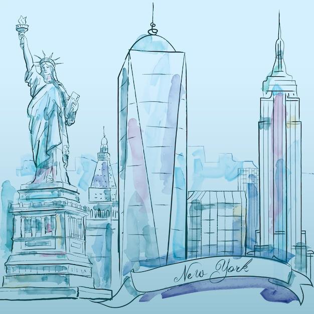 ニューヨークの象徴的な建物ベクトル水彩スケッチ Premiumベクター