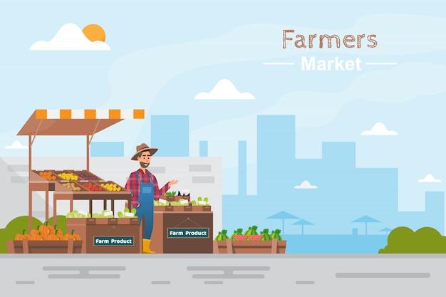 Фермерский магазин. местный рынок. продажа фруктов и овощей Premium векторы