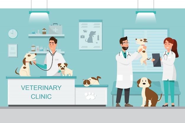 獣医師と犬と猫獣医クリニックのカウンターの上に医師 Premiumベクター