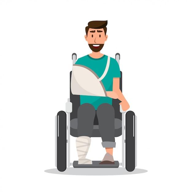 笑顔の男が車椅子に包帯を着て怪我をして Premiumベクター
