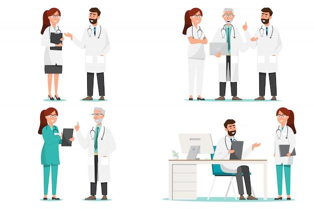医者の漫画のキャラクターのセット。病院の医療スタッフチームコンセプト。 Premiumベクター