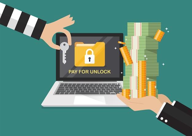 ロックされたラップトップのためのハッカーから鍵を払うための銀行券を持っているビジネスマンの手 Premiumベクター