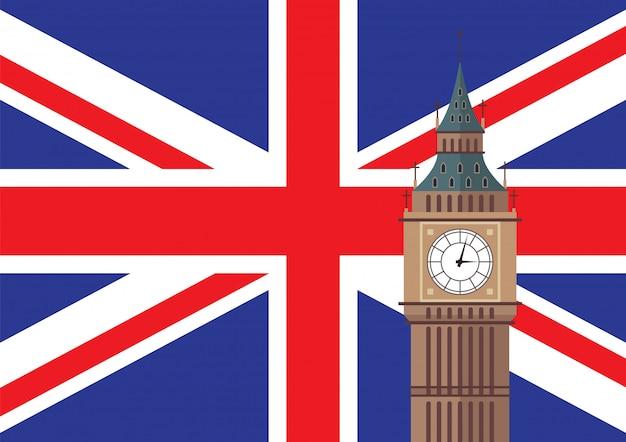 Биг бен с флагом великобритании Premium векторы