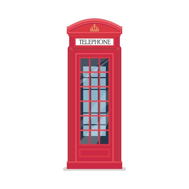 Лондонская красная телефонная будка Premium векторы