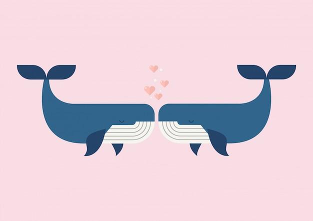 Пара влюбленных китов Premium векторы