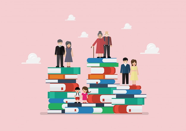様々な世代の人々がたくさんの本の上に立って Premiumベクター