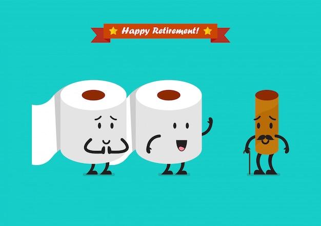 幸せな退職概念とティッシュペーパーのキャラクター Premiumベクター