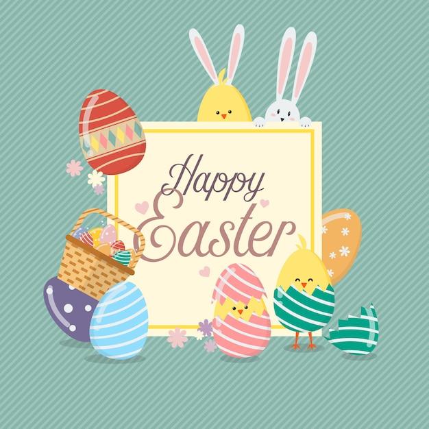 バニーウサギと卵のイースター販売バナーテンプレート Premiumベクター