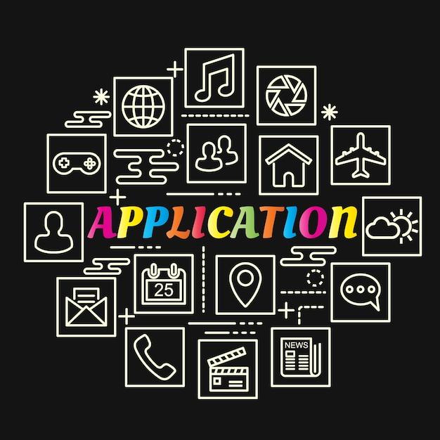 ラインアイコンが設定されたアプリケーションカラフルなグラデーション Premiumベクター