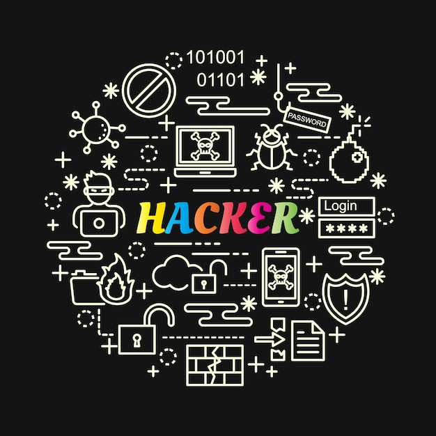 ラインアイコンが設定されたハッカーのカラフルなグラデーション Premiumベクター