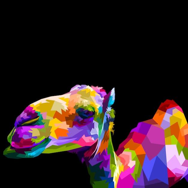 Красочный верблюд изолированный Premium векторы
