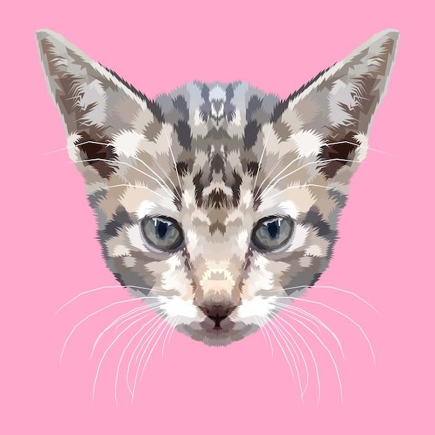 Голова котенка по геометрическому стилю Premium векторы