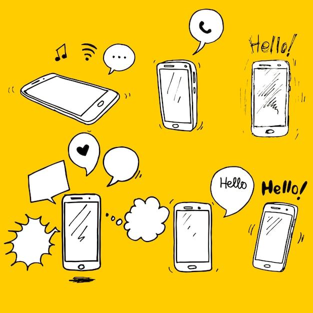 手描きのスマートフォンのセット。スマートフォンアイコンデザイン要素。 Premiumベクター