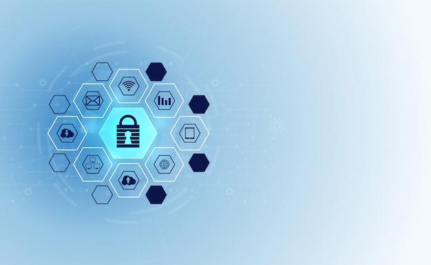 Абстрактная технология кибербезопасности конфиденциальность значок информационной сети Premium векторы
