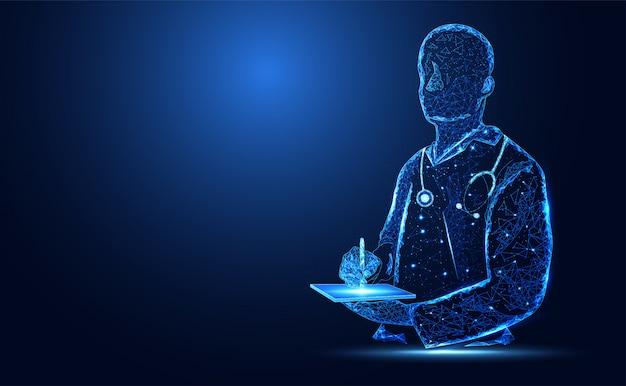 青い明るい医者シルエット背景 Premiumベクター