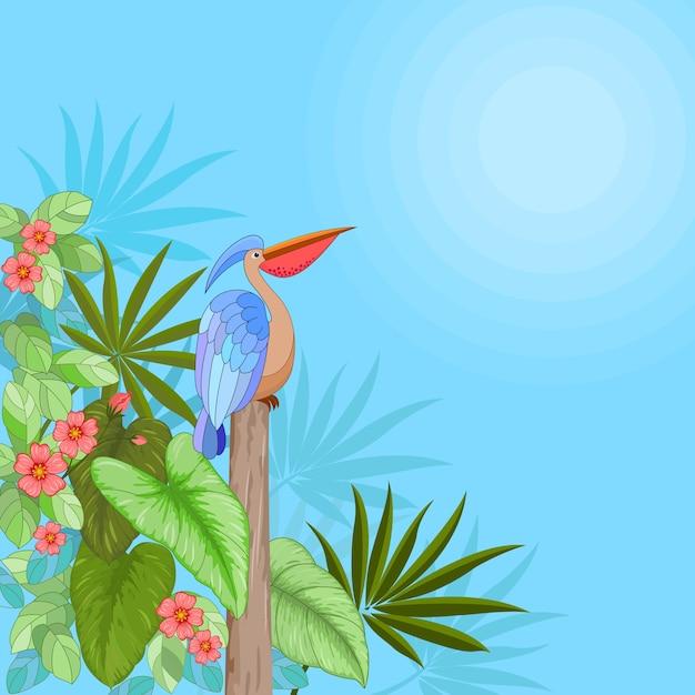 熱帯の花、葉と鳥 Premiumベクター