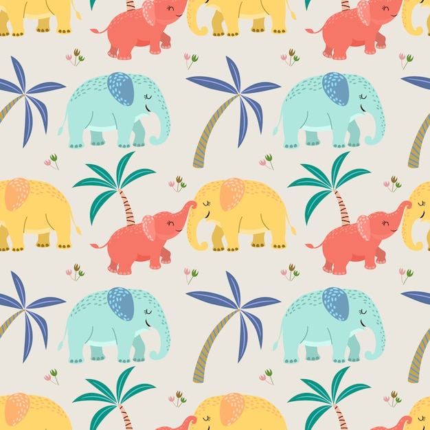 かわいい象のお母さんと赤ちゃんのシームレスなパターン。 Premiumベクター