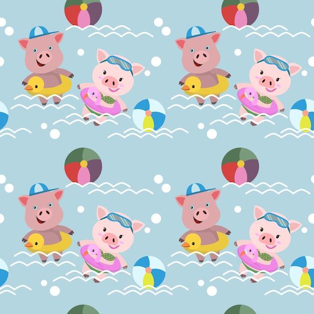 Милые свиньи плавают в бассейне бесшовные модели. Premium векторы