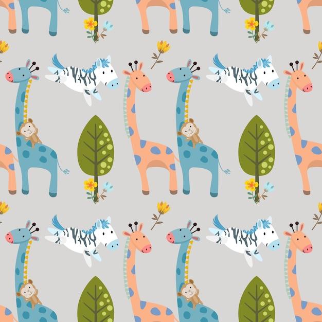 キリンシマウマと猿の森のシームレスパターン。 Premiumベクター