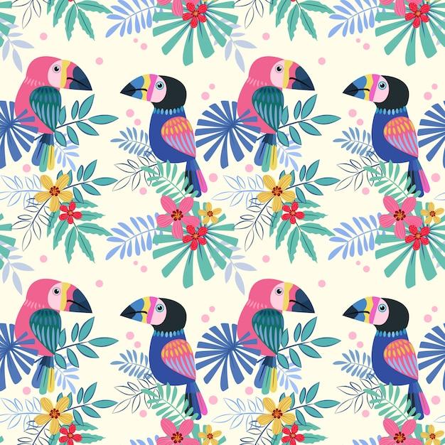 かわいいオオハシ鳥シームレスパターン。 Premiumベクター