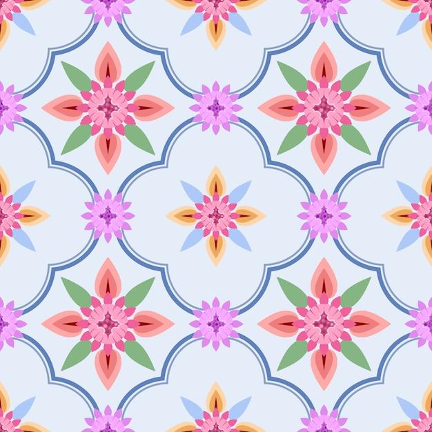 青色の背景に民族の花を持つ優雅さシームレスパターン。 Premiumベクター