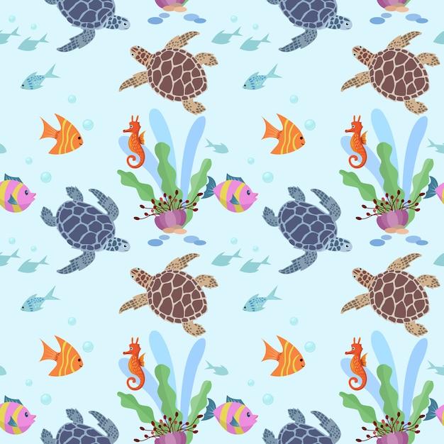 水中のかわいいカメと魚のシームレスパターン。 Premiumベクター