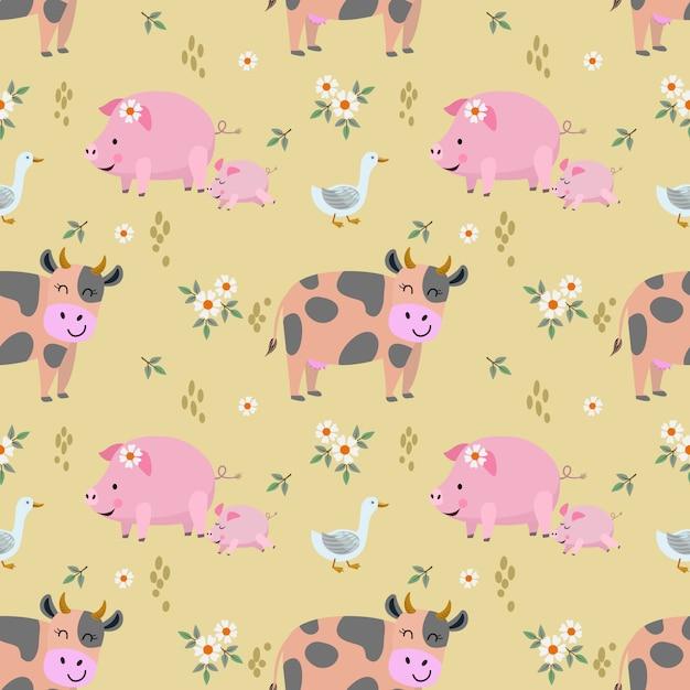 Симпатичные животные фермы корова свинья утка бесшовный фон Premium векторы