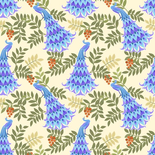 ファブリックの織物のための孔雀ベクターデザインシームレスパターン。 Premiumベクター