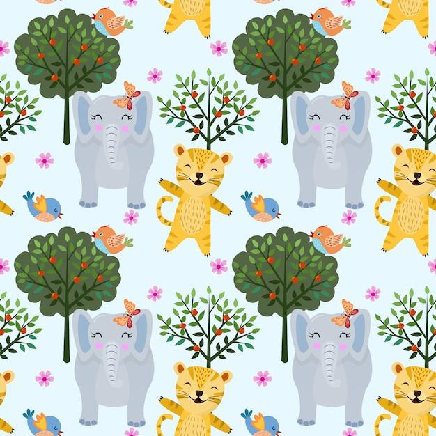 Безшовное животное картины в лесе с тигром и слоном. можно использовать для тканевых текстильных обоев. Premium векторы
