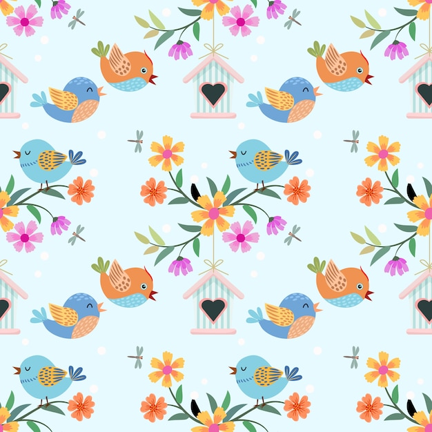 Милый мультфильм птица и цветы шаблон. Premium векторы