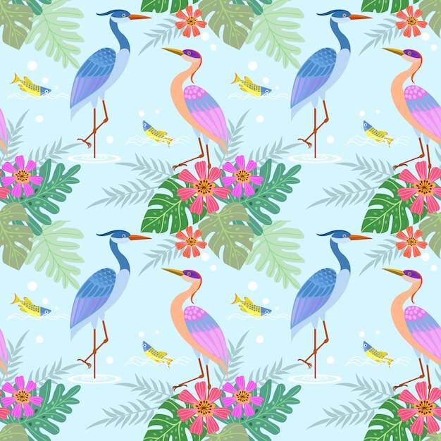ヘロン鳥花のシームレスなパターン。 Premiumベクター